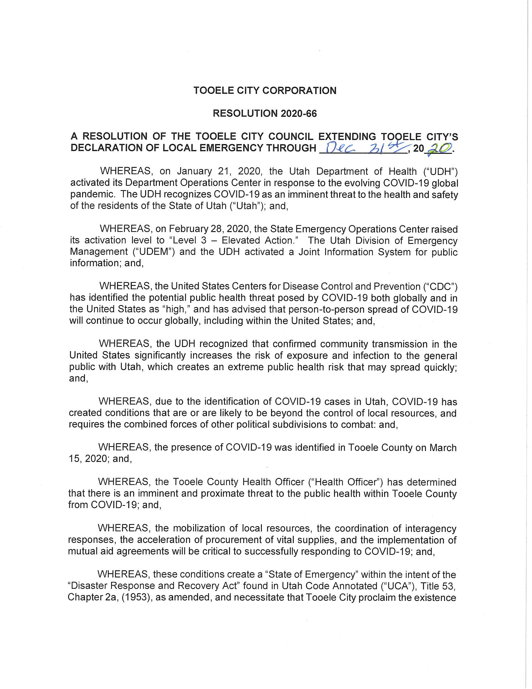 Extension of Emergency Declaration August 5 2020