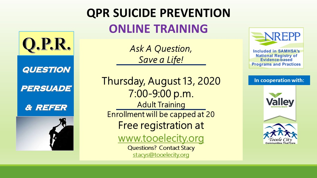 Q.P.R. Suicide Prevention Training - Online @ WebEx | Tooele | Utah | United States