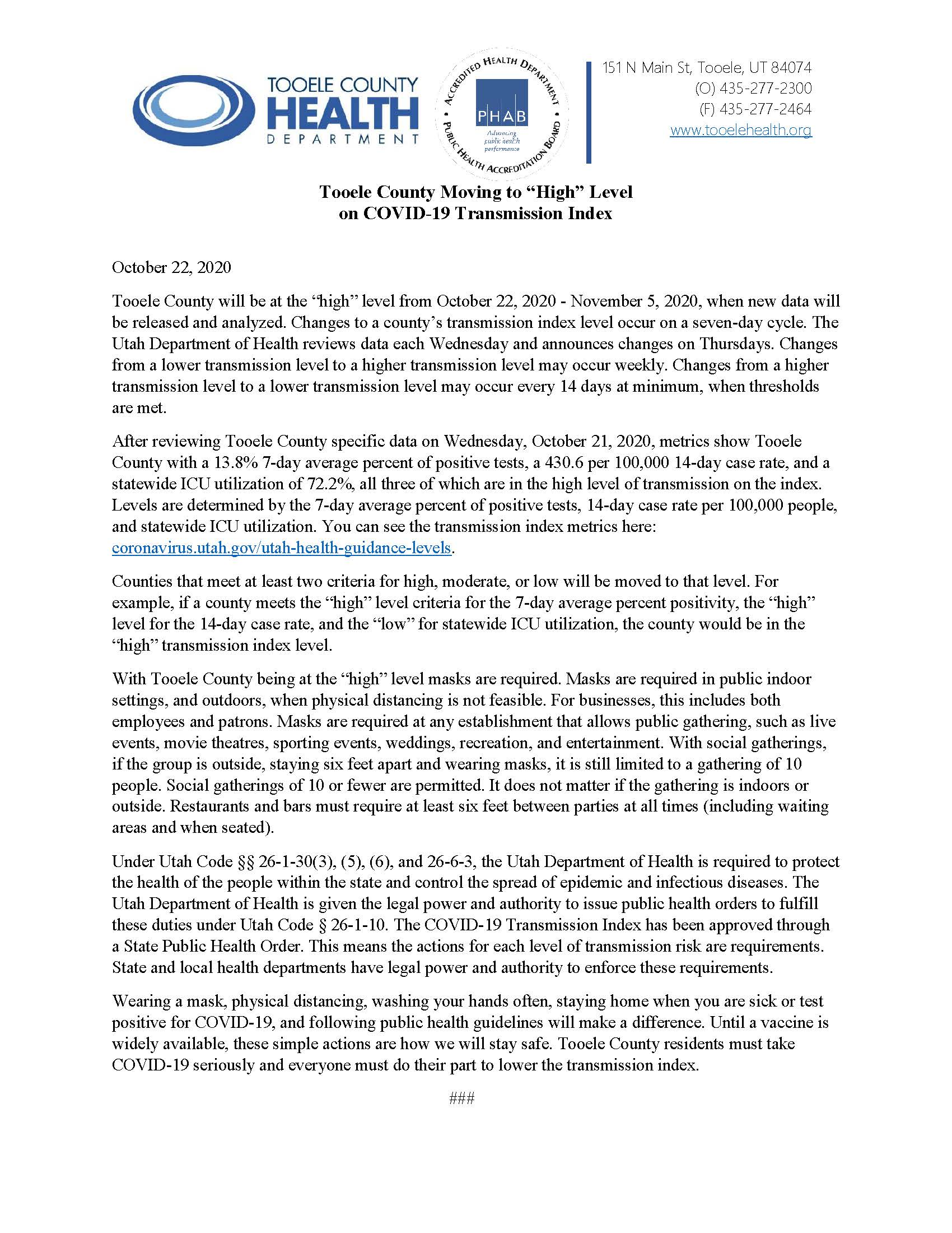 Press Release on Tooele County at High Level on Transmission Index 10-22-2020