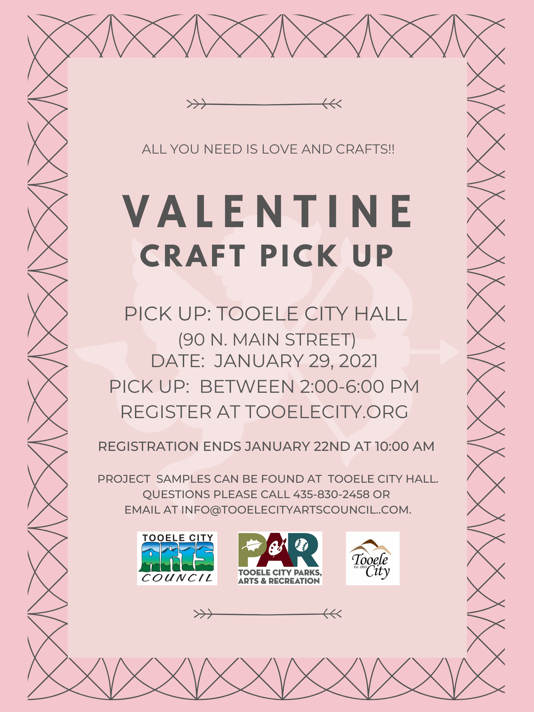 Valentine Craft Pick Up @ Tooele City Hall | Tooele | Utah | United States