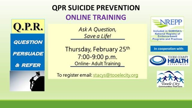Q.P.R. Suicide Prevention Training - Adult Online Training @ Online | Tooele | Utah | United States