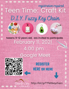 DIY Fuzzy Keychain (Teen Time) @ Online - Tooele City Library | Tooele | Utah | United States